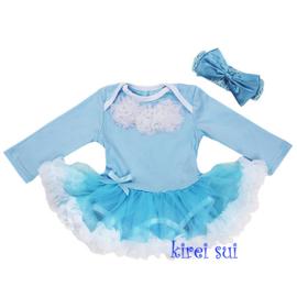 Babyjurk rozetten blauw lang/korte mouw + haarband