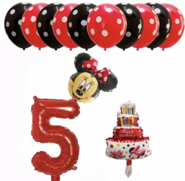 Minnie Mouse ballon set ROOD 5 jaar (13-delig)