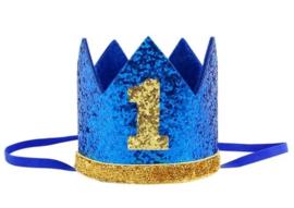 Kroon donkerblauw/goud 1 jaar