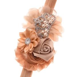 Haarband KHAKI met bloemen en pareltjes