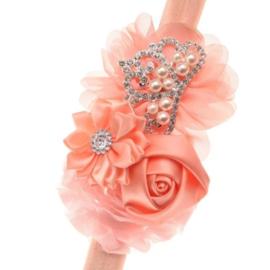 Haarband PERZIK met bloemen en pareltjes
