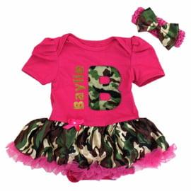 Babyjurk eigen naam camouflage pink  + haarband