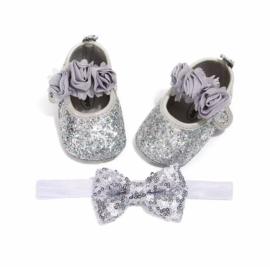 Babyschoen ZILVER glitters + haarband
