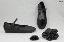 Prinses ballerina schoenen ZWART GLITTER + 2 gratis bloemclips en 1 haarbloem