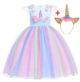 Knielange Unicorn jurk blauw + diadeem
