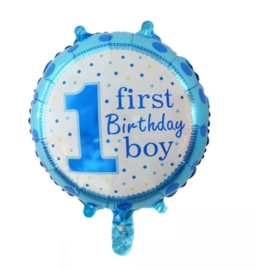 Ballon First Birthday blauw