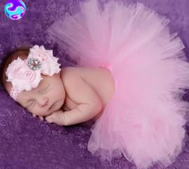 Newborn tutu roze + haarband
