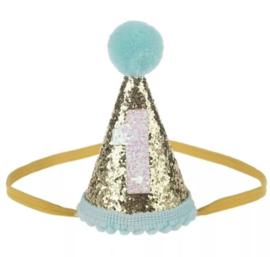 Haarband Partyhoedje,aqua/mint 1 jaar