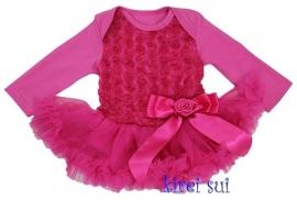 Babyjurk met roosjes pink lange/zonder mouw