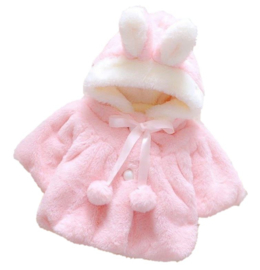 Baby bontjas roze capuchon