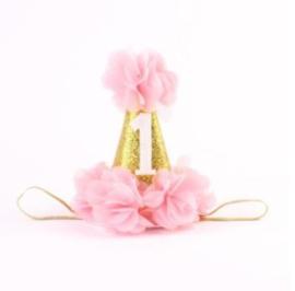 Haarband Partyhoedje 1 jaar bloemen *