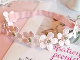 Haarband roze bloemen