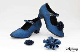 Prinses schoenen BLAUW GLITTER + 2 gratis bloemclips en 1 haarbloem