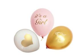 Ballonnen, It's a Girl, Oh baby, 3 stuks