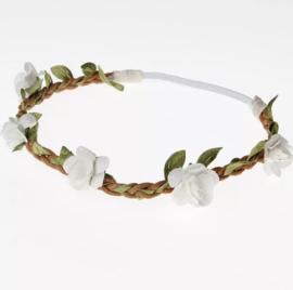 Haarband bloemen wit/groen