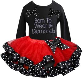 Tutu Satijn set Born To wear Diamonds lang/korte mouw rood/zwart