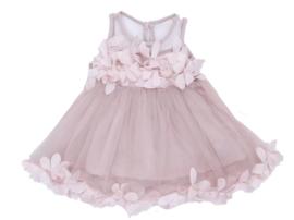 Romantische jurk DUSTY PINK met bloemblaadjes