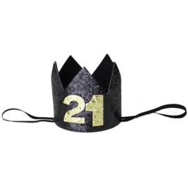 Haarband kroon 21 jaar zwart