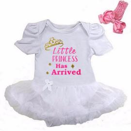 Babyjurk Little Princess Has Arrived lang/korte mouw wit + haarband