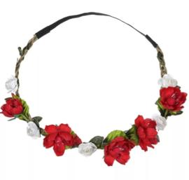 Haarband bloemen rood