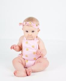 Jumpsuit polkadot roze + haarband