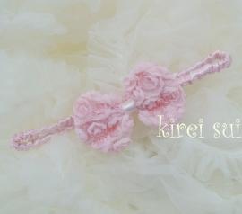Haarband strik roosjes roze