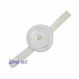 Haarband parelroos wit