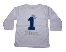 Shirt jongen getal 1 t/m 5 blauw-zilver met naam