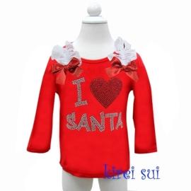 Kerst shirt rood 'I love Santa'