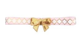 Haarband strik klein, roze/wit/goud