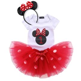 Minnie Mouse rood tutu verjaardagset 1 jaar (3-delig)