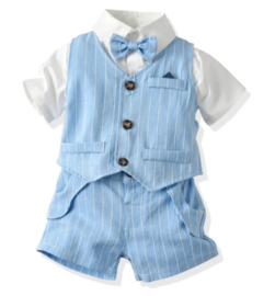 Gentleman jongenspak korte broek, blauw/wit