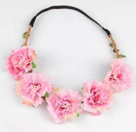 Haarband bloemen babyroze