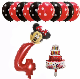 Minnie Mouse ballon set ROOD 4 jaar (13-delig)