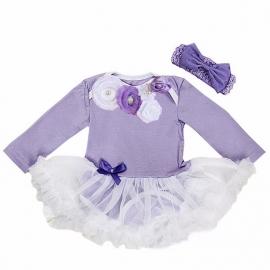 Babyjurk luxe bloemen lavendel lang/korte mouw + haarband