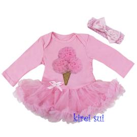Babyjurk ijsje roze longsleeve + haarband (62/68)