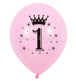 Ballon 1 jaar roze (4 stuks)