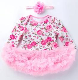 Babyjurk roze bloemen