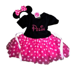 Minnie Mouse jurk pink (2-delig) + NAAM