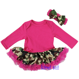 Babyjurk camouflage pink lang/korte mouw + haarband