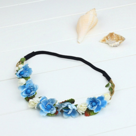 Haarband bloemen aquablauw