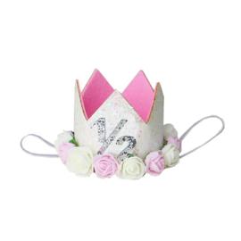 Haarband kroon 1/2 jaar wit