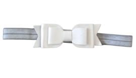 Haarband dubbele strik , zilver/wit