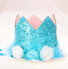 Haarband kroon blauw glitter