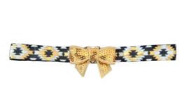 Haarband strik klein, wit/goud/zwart