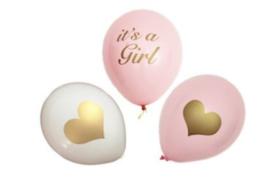 Ballonnen, It's a Girl, hart, 3 stuks