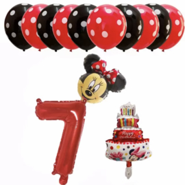 Minnie Mouse ballon set ROOD 7 jaar (13-delig)