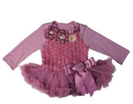 Babyjurk met roosjes LUXE vintage paars longsleeve