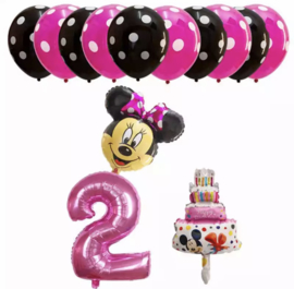 Minnie Mouse ballon set ROZE 2  jaar (13-delig)