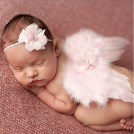 Newborn engelen vleugels roze + haarband